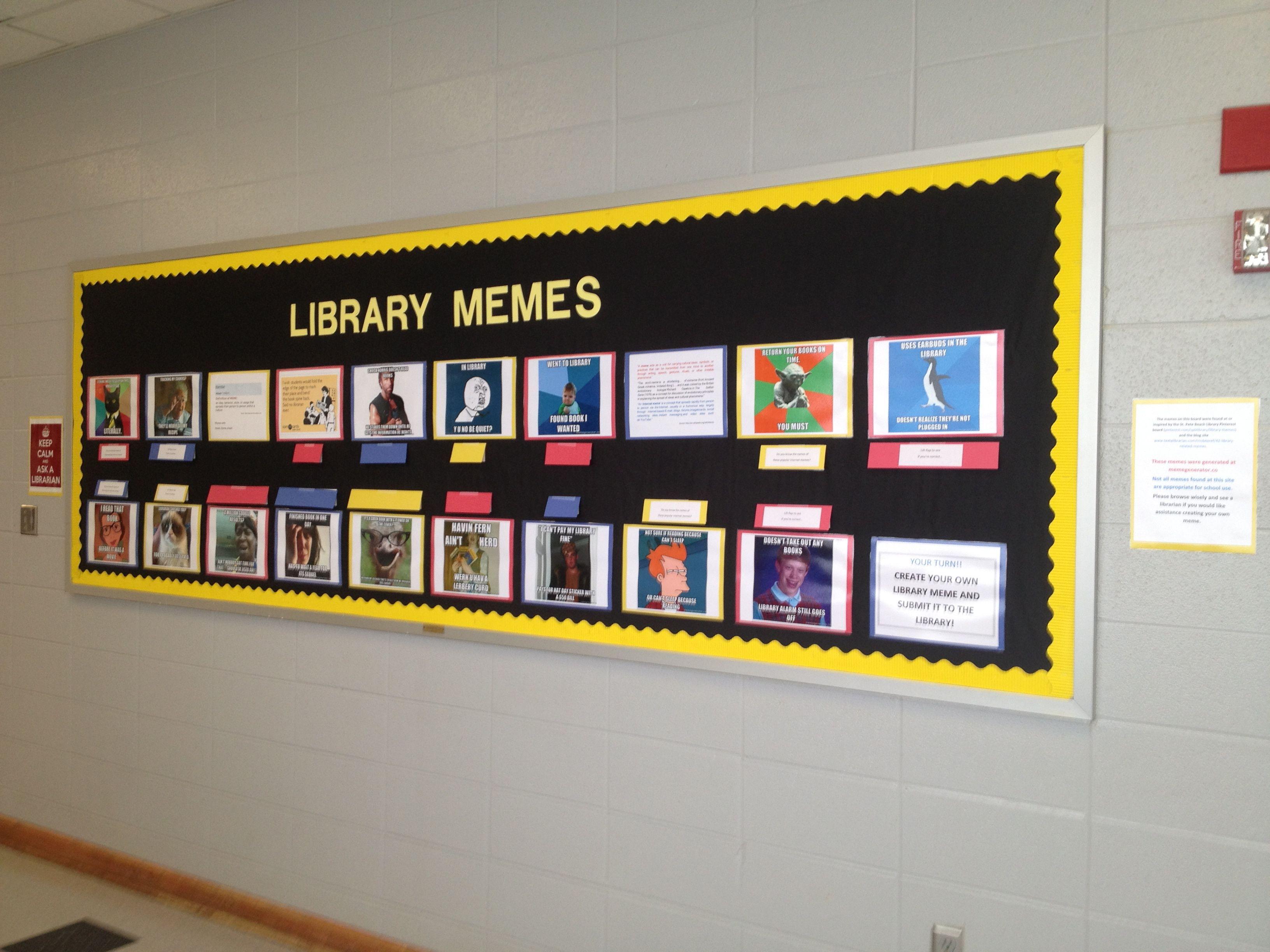 meme overdue book bulletin board